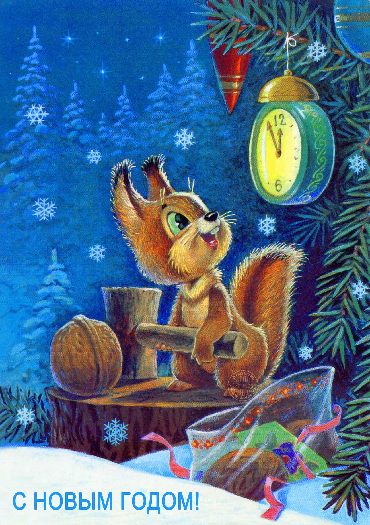 что старые новогодние открытки лес и часы дело тут